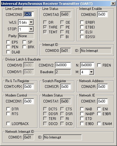 Analog Devices ADuC7026 UART Simulation Details