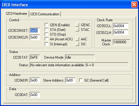 NXP (founded by Philips) LPC2148 I2C Interfaces: (I2C0-1) Simulation