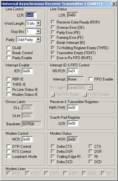 NXP (founded by Philips) LPC2129 UART 1 Simulation Details
