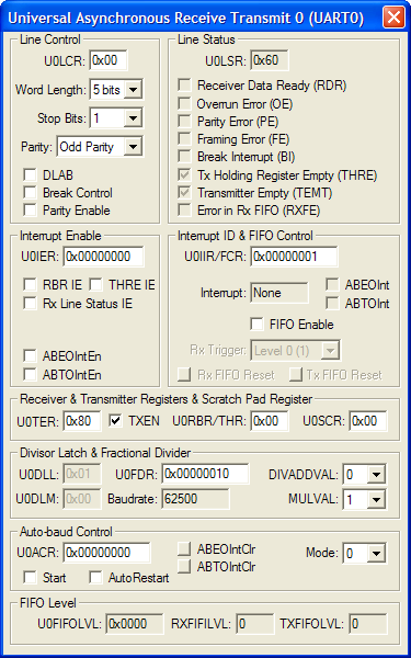 NXP (founded by Philips) LPC1768 UARTs 0-3 Simulation Details