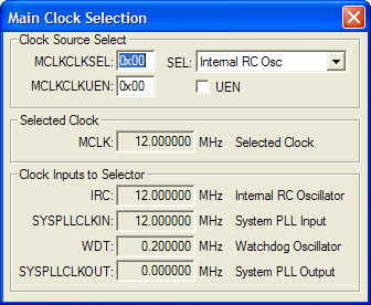 Main Clock Selection