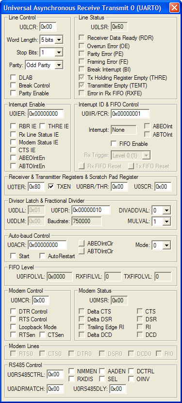 NXP (founded by Philips) LPC1112/101 UART Simulation Details