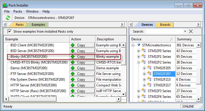 MCBSTM32F200/400 User's Guide: Example Programs