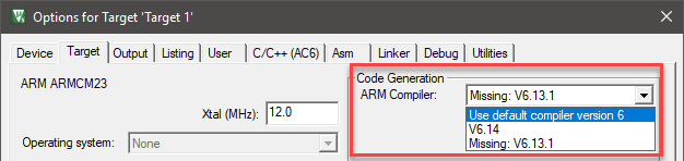 µVision User's Guide: Manage ARM Compiler Versions