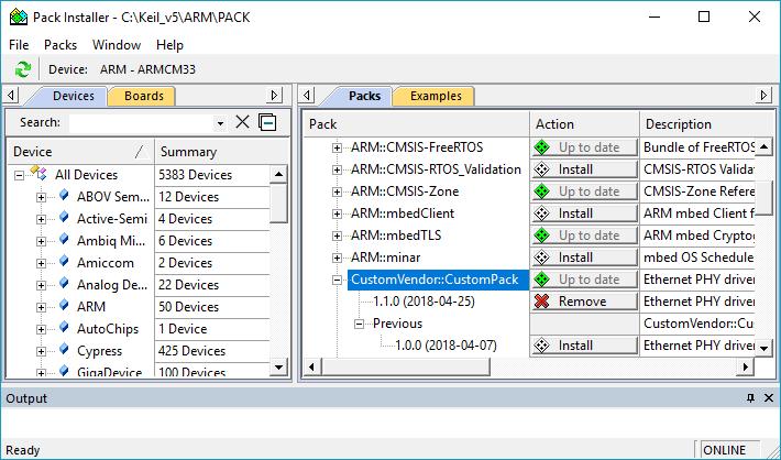 µVision User's Guide: Importing Custom Software Packs