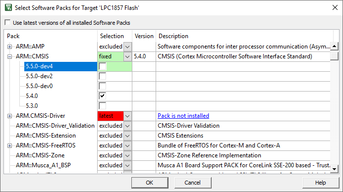 µVision User's Guide: Select Software Packs