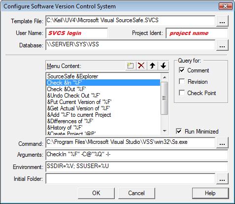 µVision User\'s Guide: Using the SVCS Menu